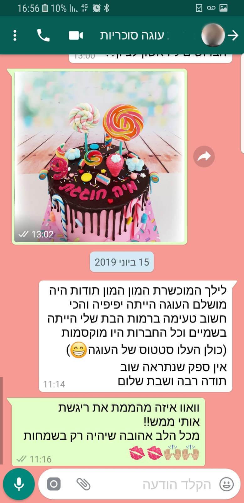 לקוחות מהללים עוגת סוכריות