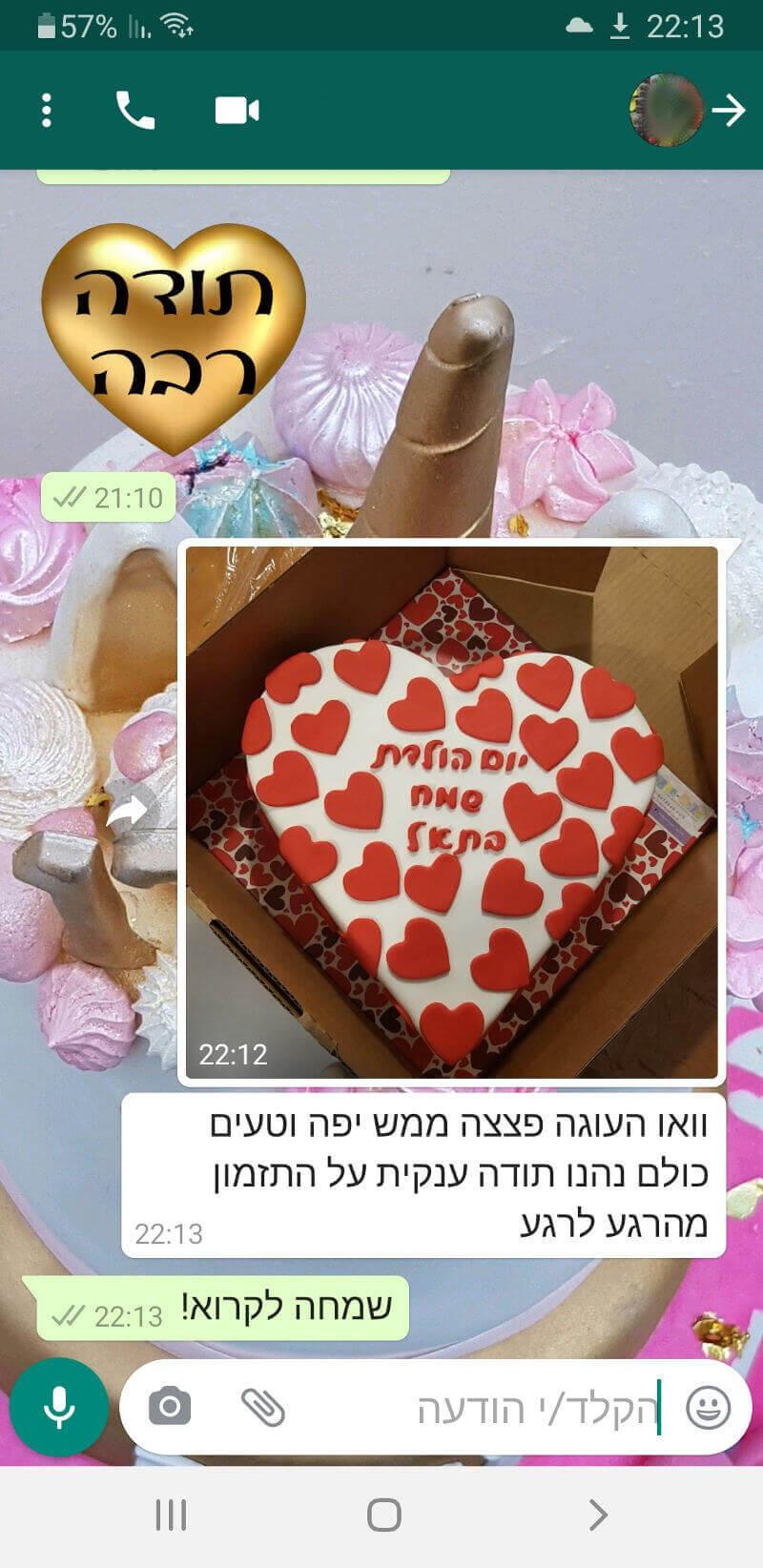 ביקורות מלוקוחת לעוגה מדהימה בהתראה קצרה