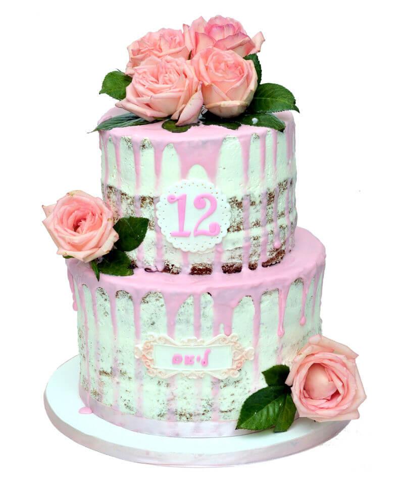 בת מצווה עוגת פרחים כפרית