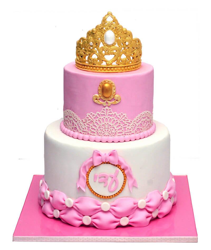 בת מצווה עוגת קומות עם כתר