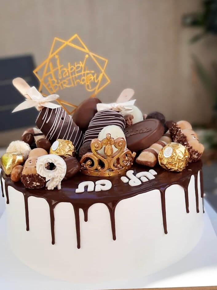 דריפ קייק עם ממתקים ומגנום ליום הולדת