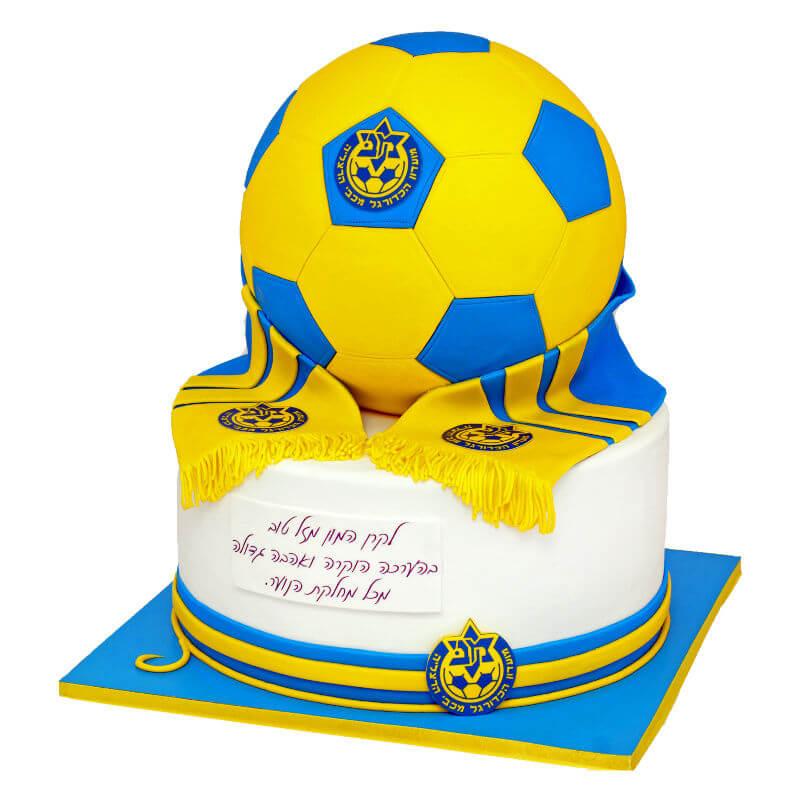 כדורגל עוגה מעוצבת מכבי תל אביב
