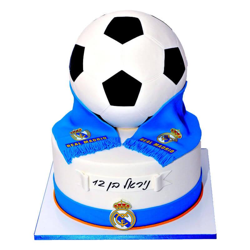 כדורגל עוגת ריאל מדריד מעוצבת