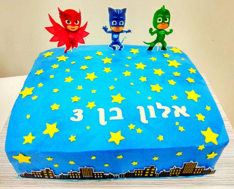 כוח פי ג'יי עוגה מעוצבת מלבנית
