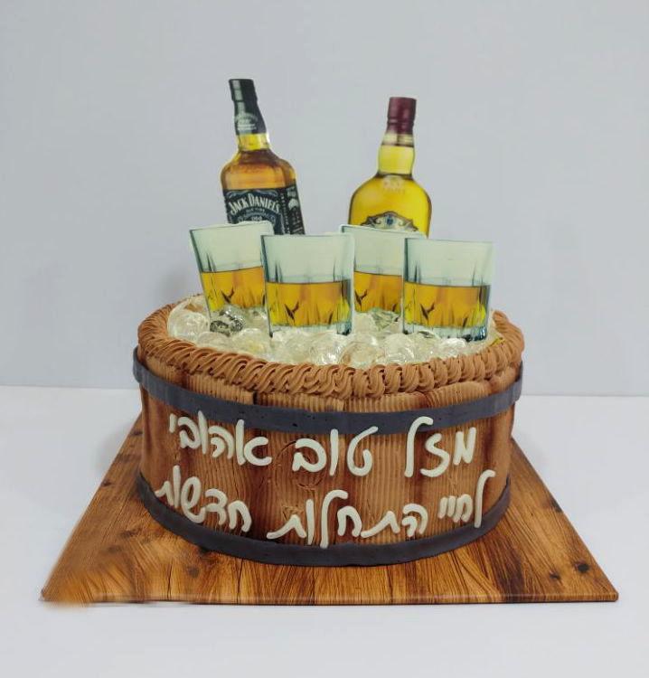 עוגת יום הולדת אלכוהול
