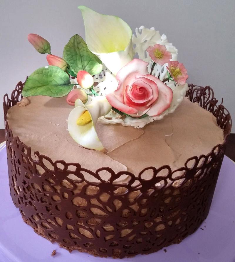 עוגת יום נישואין פרחים