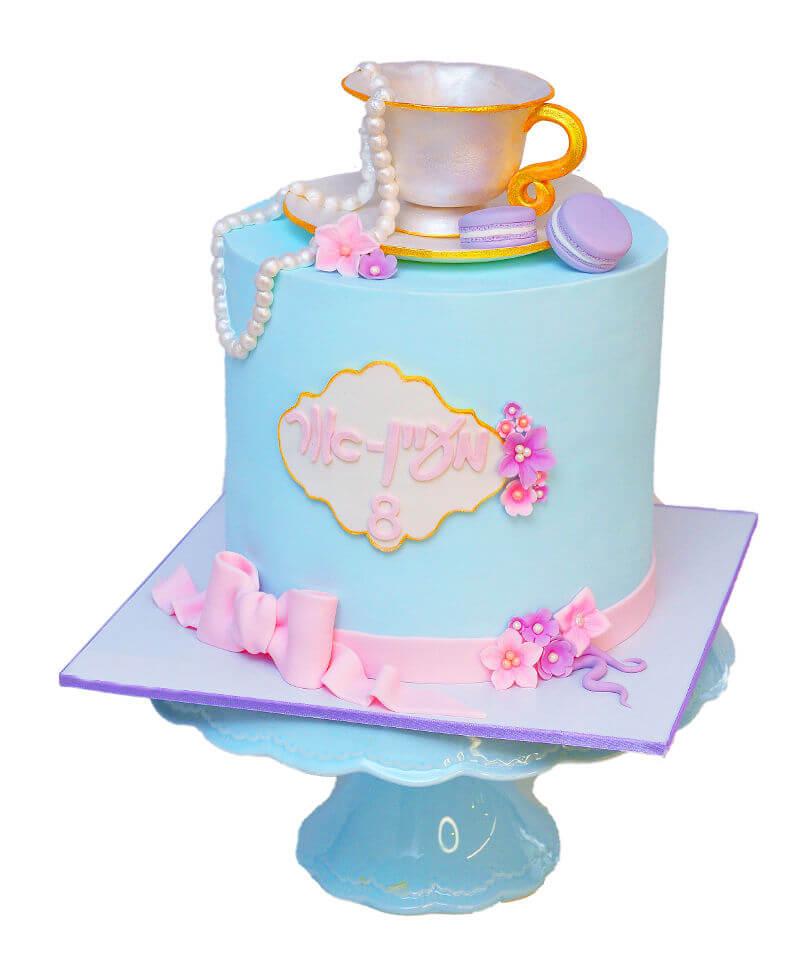 עוגה לבנות מסיבת תה מבצק סוכר