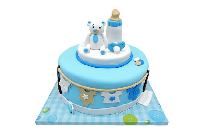 עוגה לברית עם דובי מבצק סוכר