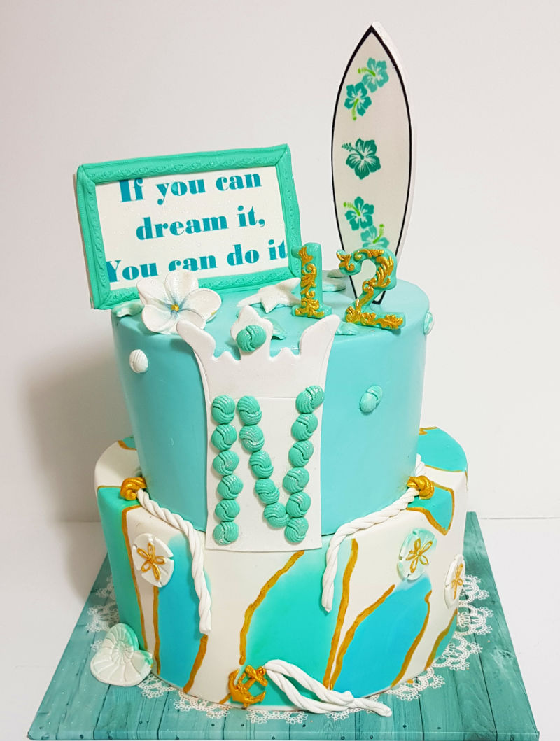 עוגה לבת מצווה בעיצוב ים