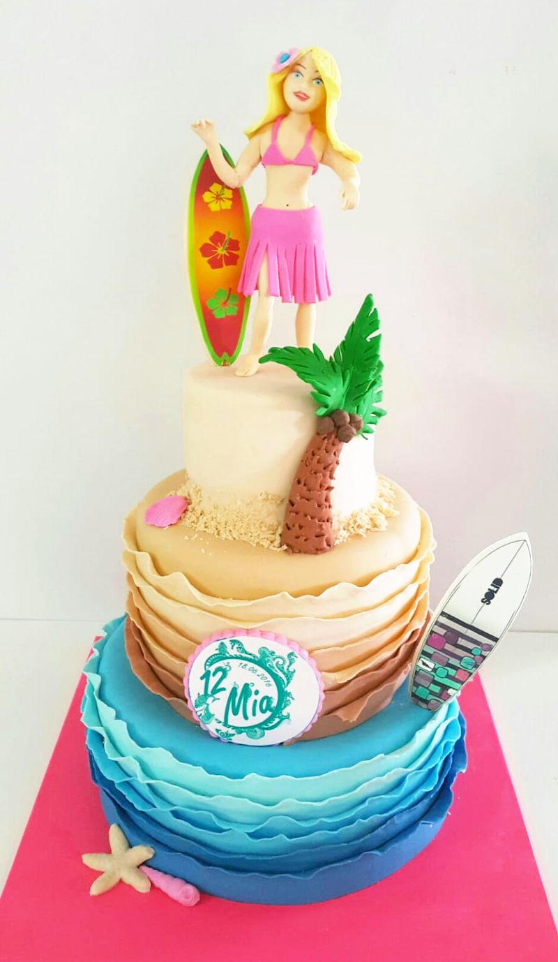 עוגת גלישה לבת מצווה 3 קומות