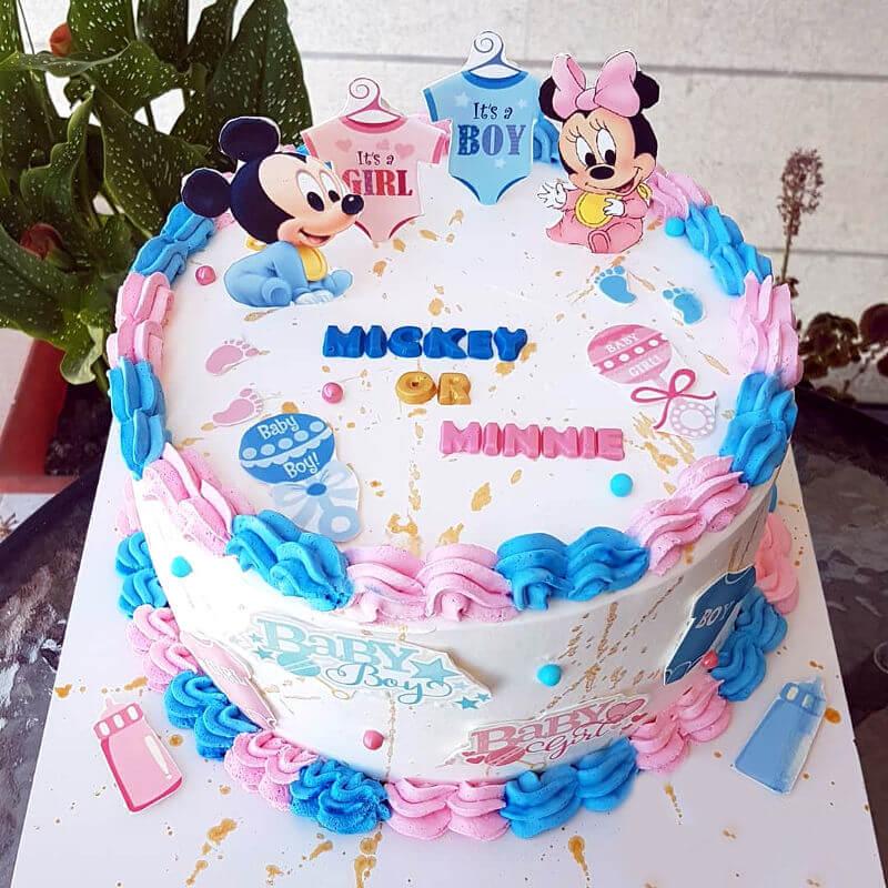 עוגה לגילוי מין היילוד של מיקי ומיני מאוס