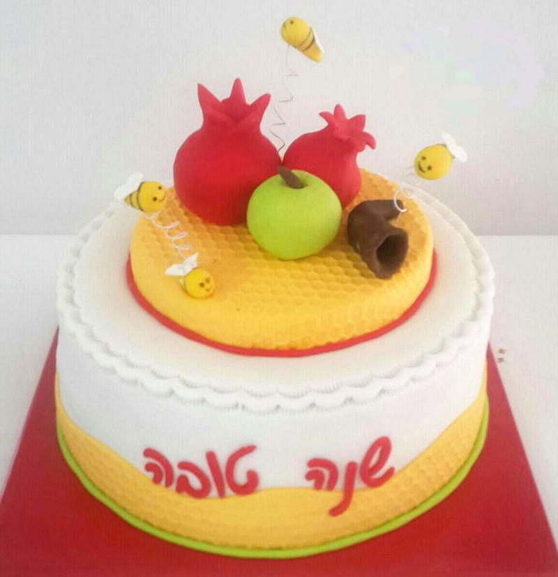 עוגה לראש השנה מבצק סוכר