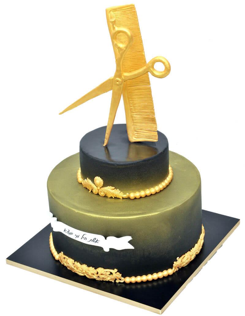 עוגה מיוחדת מספרה מבצק סוכר
