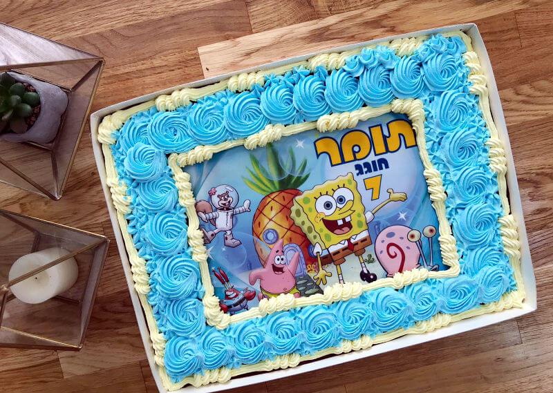 עוגה מעוצבת בוב ספוג מלבנית