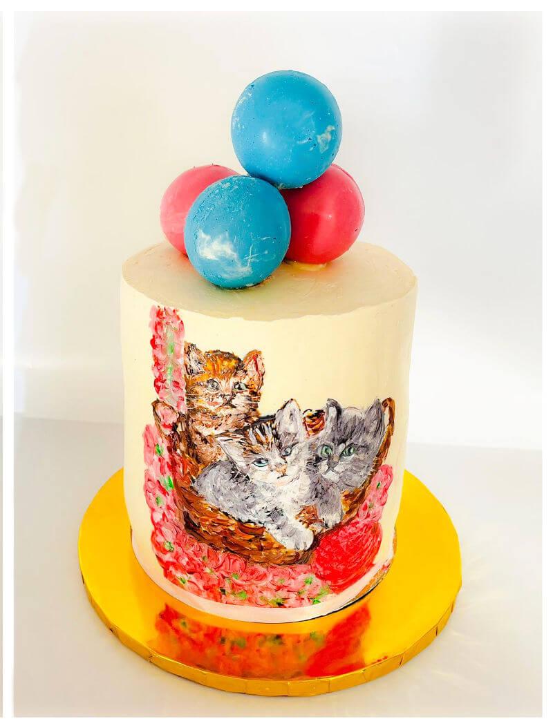 עוגה מעוצבת חיות בציור חתולים