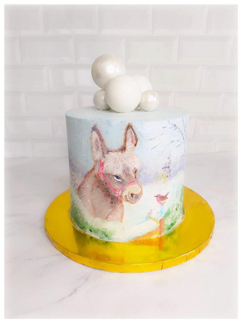 עוגה מעוצבת חיות בציור סוס