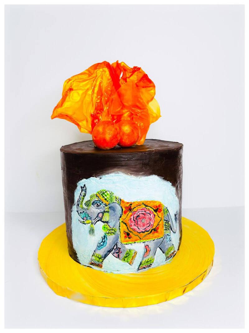 עוגה מעוצבת חיות בציור פיל