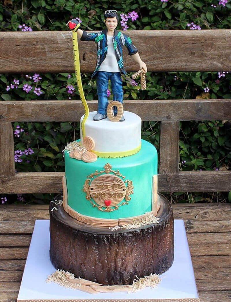 עוגה מעוצבת לגבר נגר