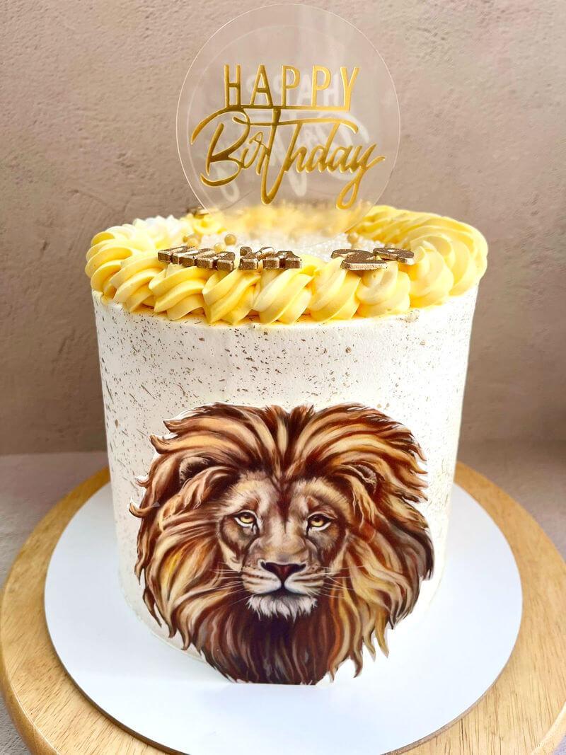 עוגה מעוצבת עם אריה ליום הולדת
