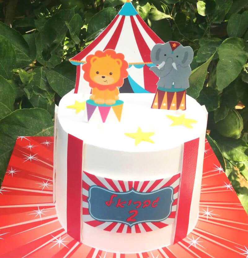עוגה מעוצבת קרקס עם אריה ופיל