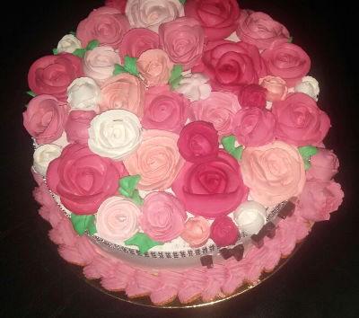 עוגת פרחים זילוף