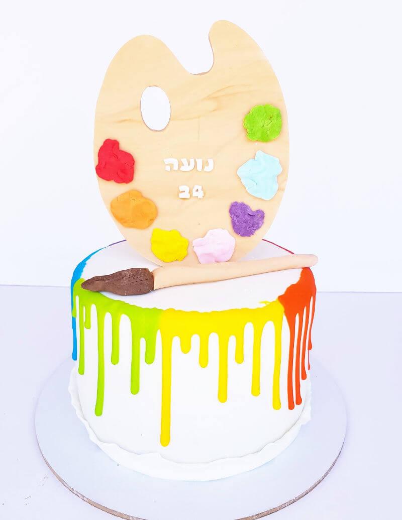 עוגה מעוצבת כפלטת צבעים לציור מבצק סוכר