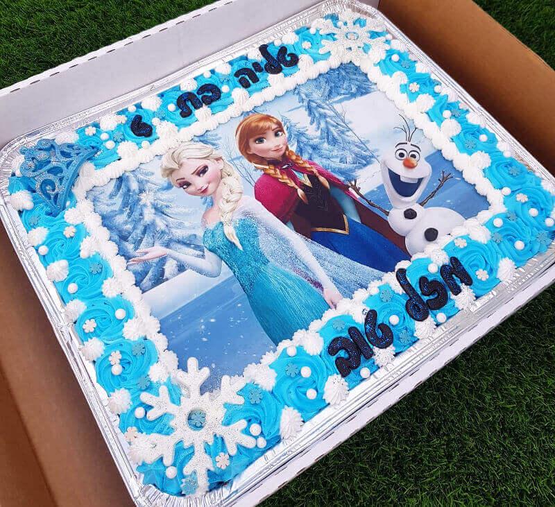עוגת אלזה ואנה מלבנית לגן