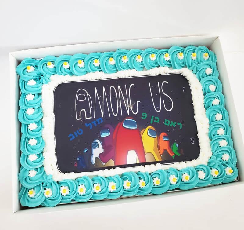 עוגת אמונג אס מלבנית among us