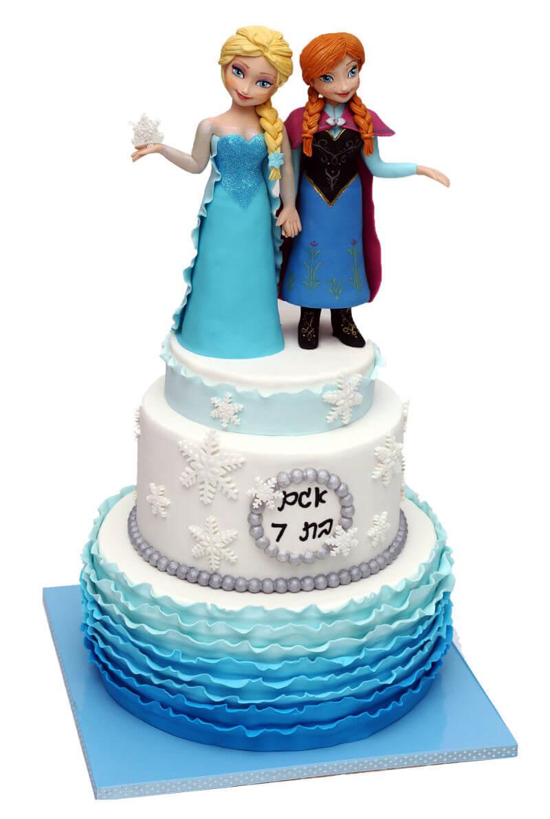 אנה ואלזה עוגה מעוצבת מבצק סוכר