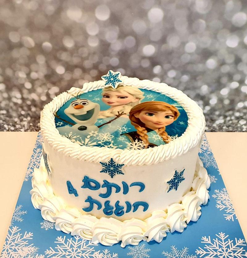 עוגת זילוף אנה ואלזה