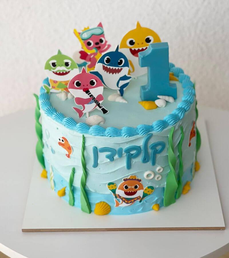 עוגה בייבי שארק בעיצוב ים