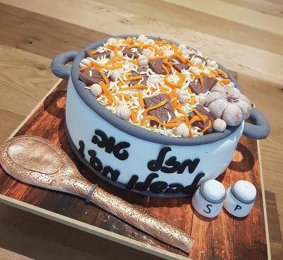 עוגת בצק סוכר מעוצבת לשף