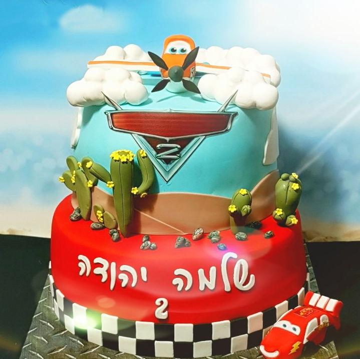 עוגת בצק סוכר ספידי מטוסים