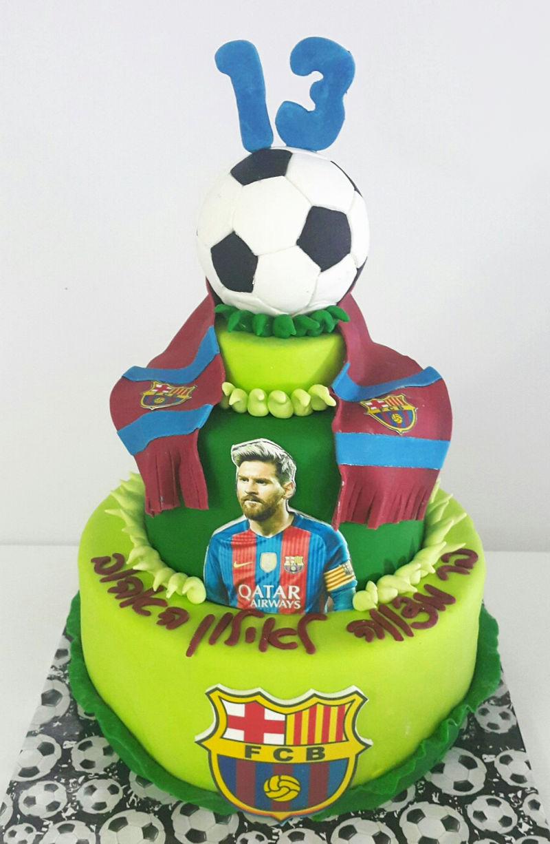 עוגת בר מצווה כדורגל בצק סוכר