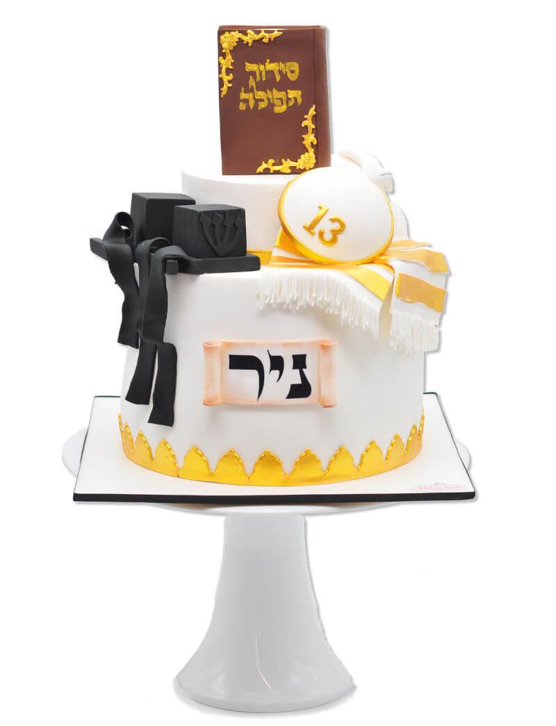עוגת בר מצווה תפילין מבצק סוכר
