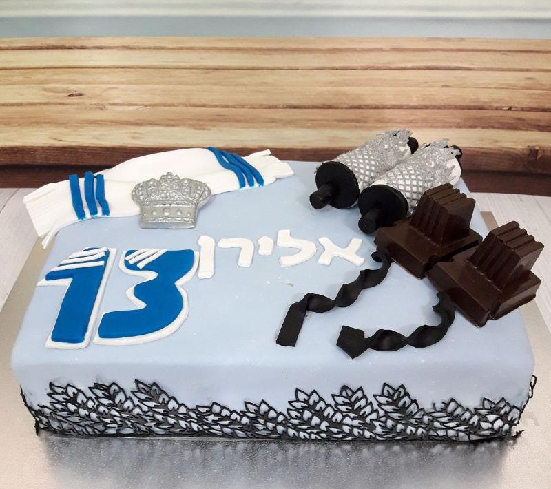 עוגת בר מצווה מבצק סוכר