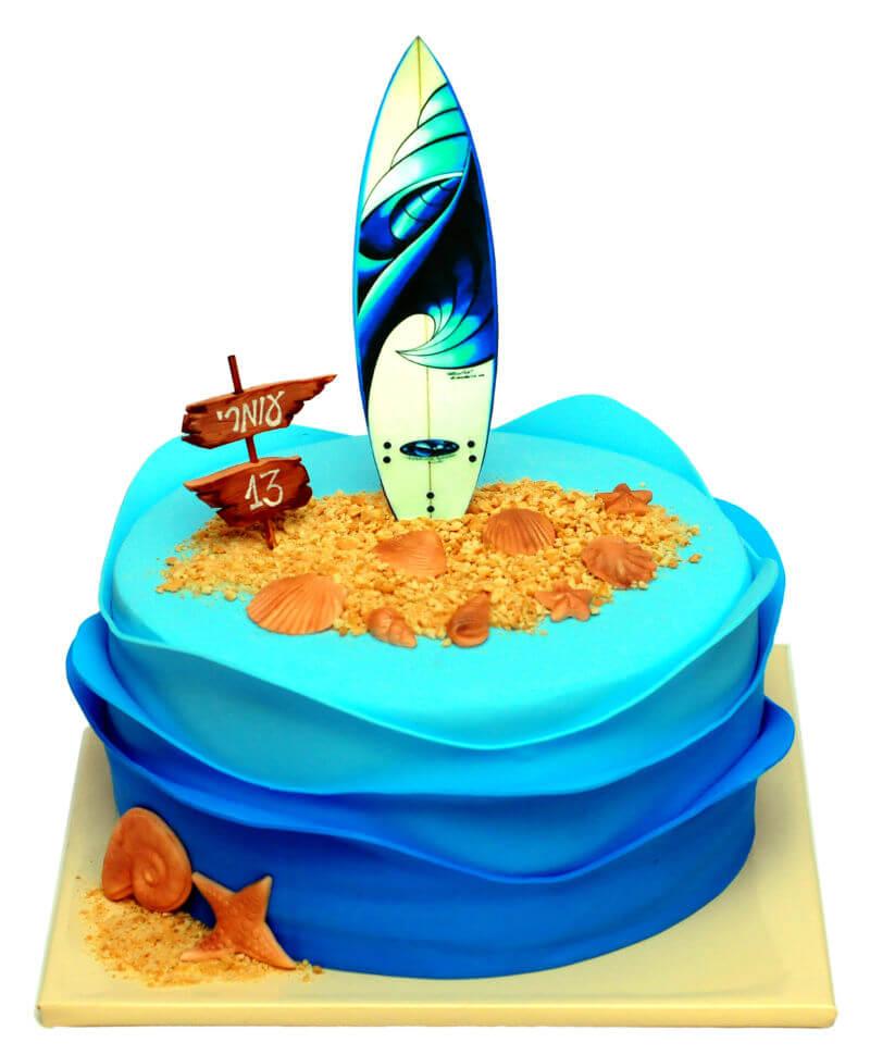 עוגת בר מצווה מיוחדת מבצק סוכר