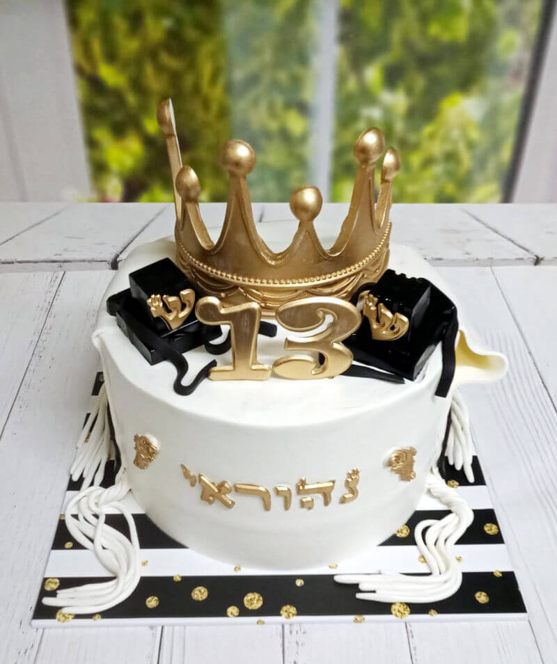 עוגת בר מצווה עם כתר