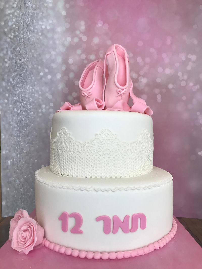 עוגת בת מצווה בלרינה מבצק סוכר