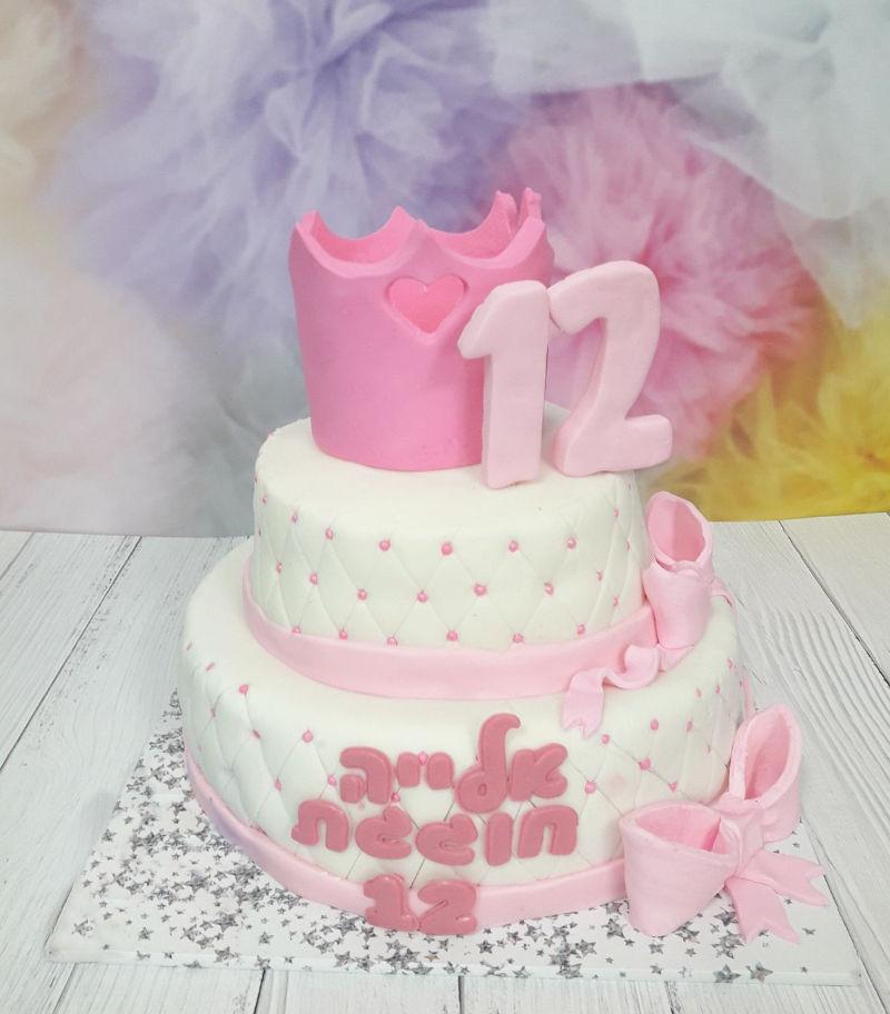 עוגת בת מצווה מבצק סוכר