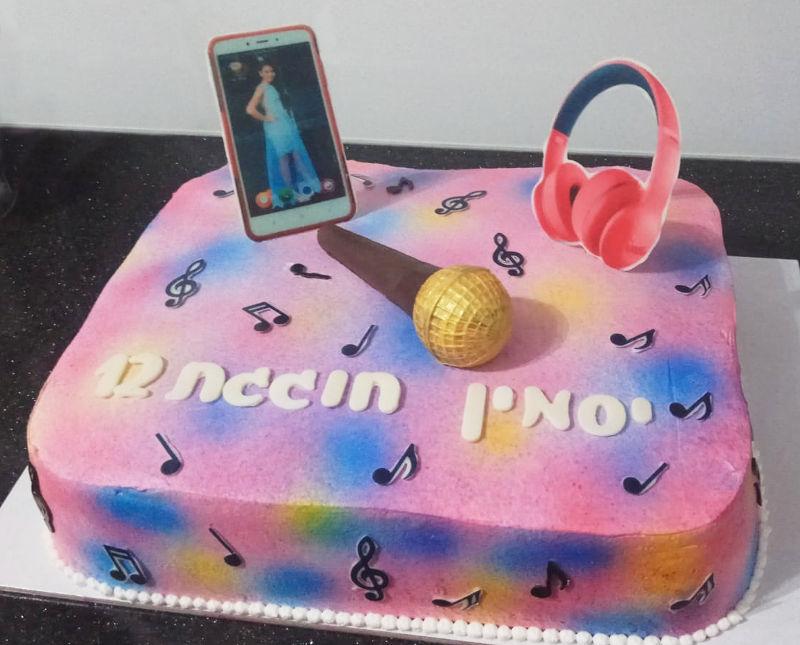 עוגת בת מצווה מעוצבת עם תמונה