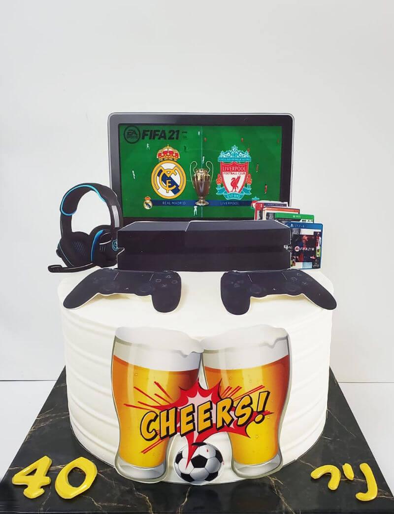 עוגת גיימינג כדורגל פיפה
