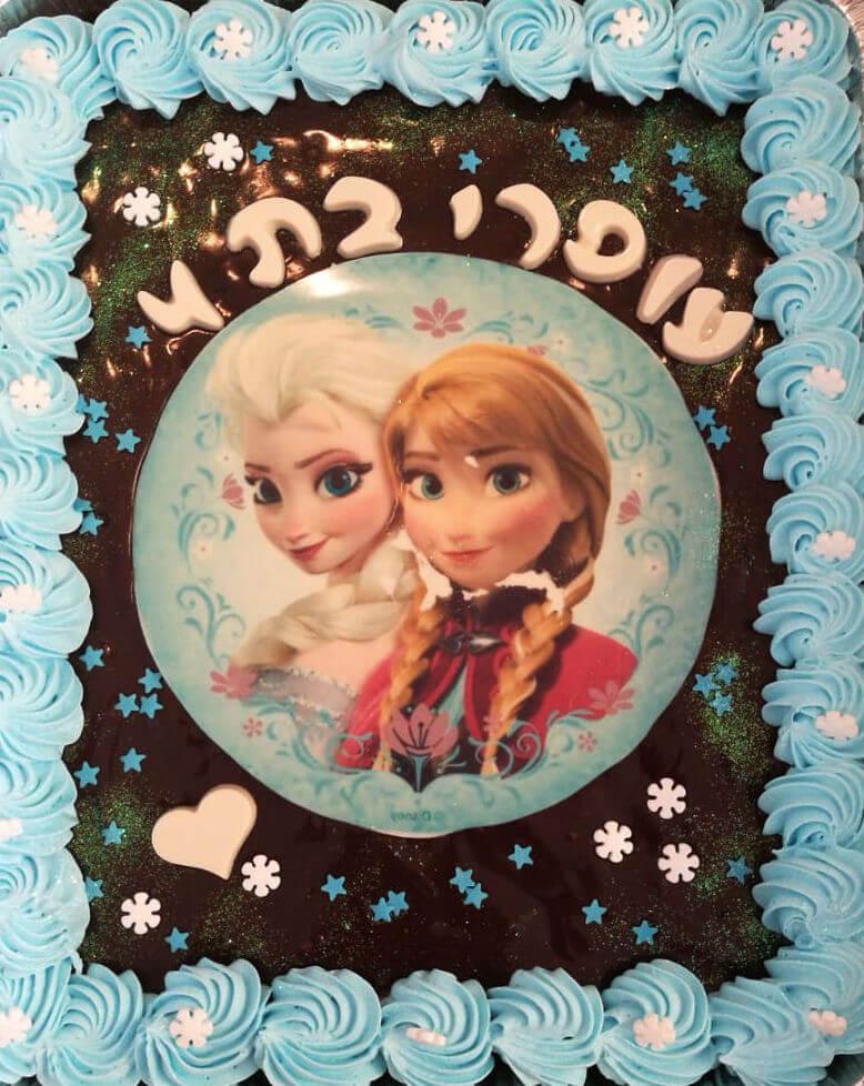 עוגת גן מלבנית אנה ואלזה