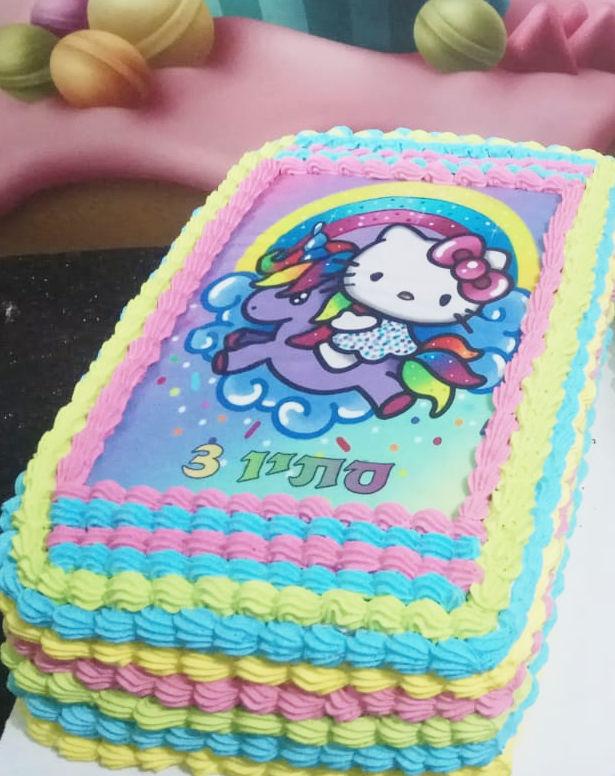 עוגת גן הלו קיטי מלבנית