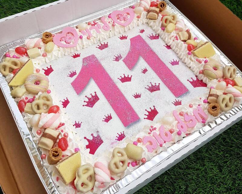 עוגת יום הולדת מלבנית לבנות