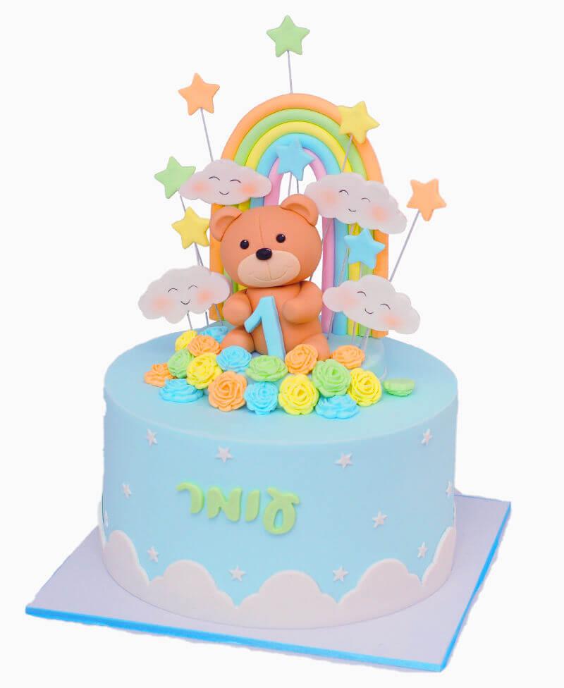 עוגת דובי מבצק סוכר