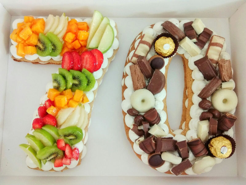 עוגת המספרים עם פירות ושוקולדים