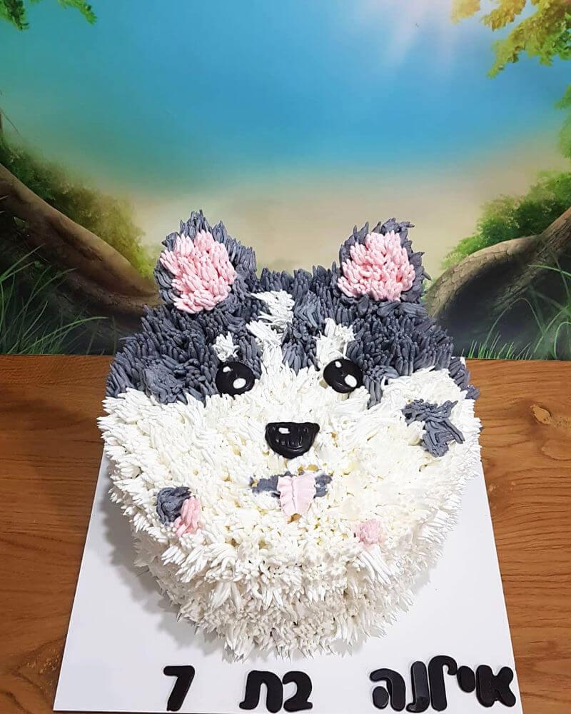 עוגת זילוף בצורת כלב