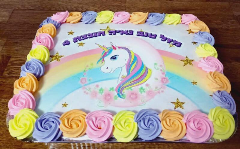 עוגה מלבנית זילוף חד קרן