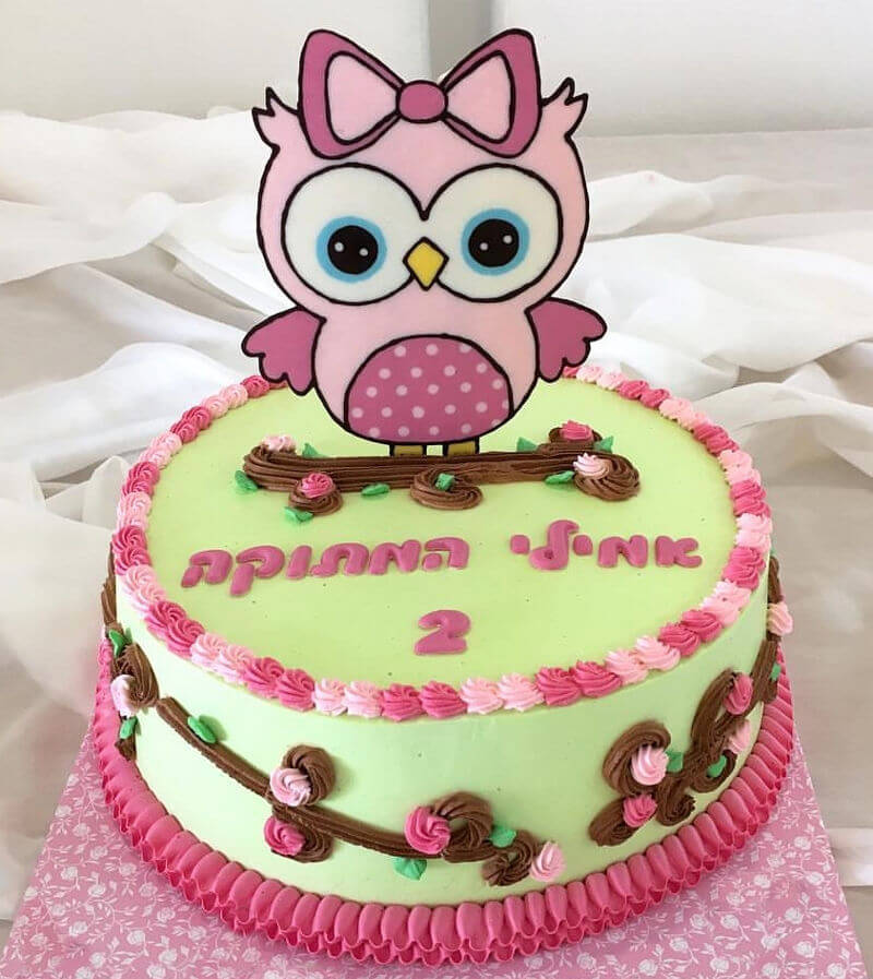 עוגת זילוף מיוחדת לבת עם ינשוף